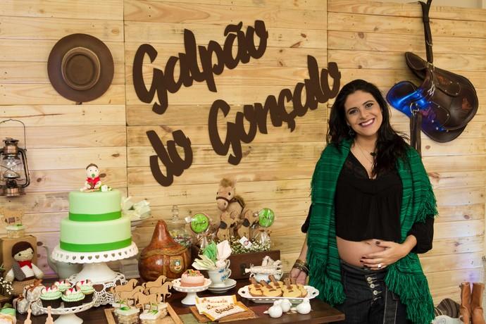 Shana Müller chá de fralda do Gonçalo (Foto: Maicon Hinrichsen/RBS TV)