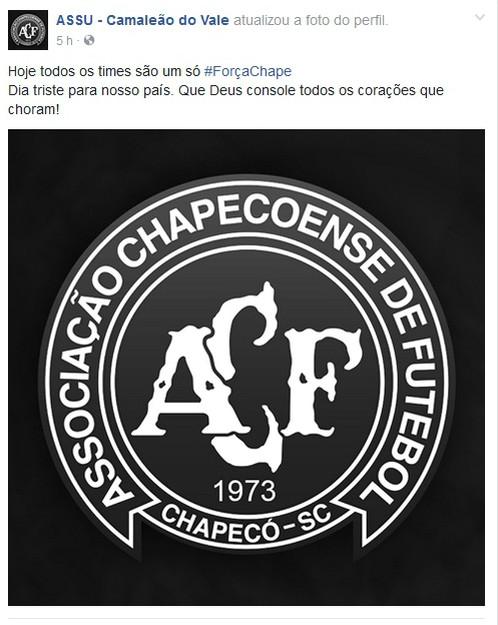 RN - Assu presta homenagem ao acidente aéreo com a Chapecoense (Foto: Reprodução)