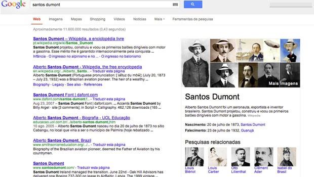 Informações resumidas sobre Santos Dumont aparecem à direita da página (Foto: Divulgação)