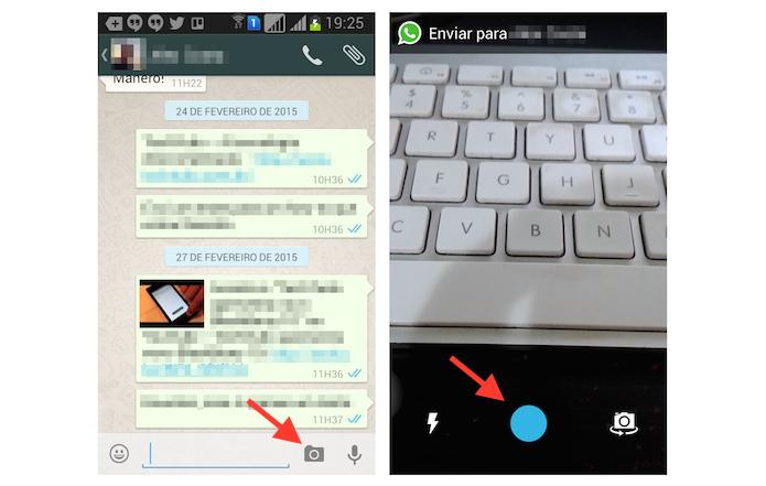 Iniciando a gravação de um vídeo no WhatsApp para Android (Foto: Reprodução/Marvin Costa)