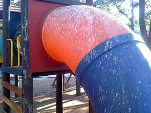 Brinquedo do parque infantil da Praça José Bonifácio, em Piracicaba, também coberto de sujeira de pombos (Foto: Artur Jerônimo / VC no G1)
