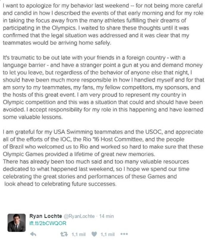 Ryan Lotche pedido de desculpas (Foto: Reprodução Twitter)