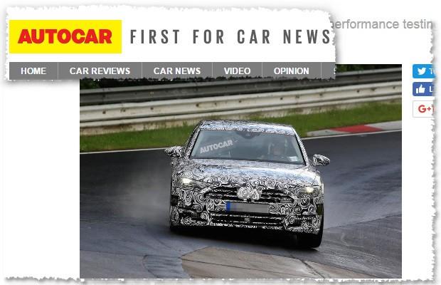Audi A8 em flagra da Autocar (Foto: Reprodução/Autocar)