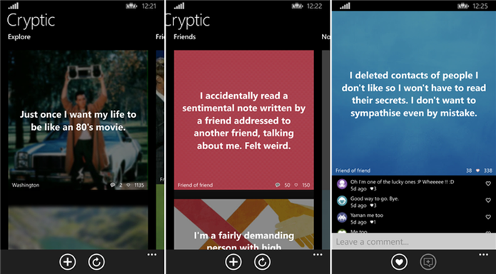 Cryptic é uma versão não oficial do Secret para Windows Phone (Foto: Divulgação/Cryptic)