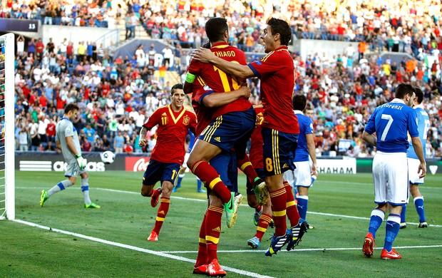 thiago alcantara espanha gol itália sub 21 (Foto: Agência Reuters)