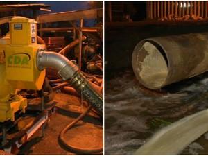 Oito bombas funcionam em Vila Velha e uma, de grande capacidade, está quebrada (Foto: Reprodução/ TV Gazeta)