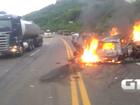Vídeo mostra carros pegando fogo em acidente com sete vítimas no RS