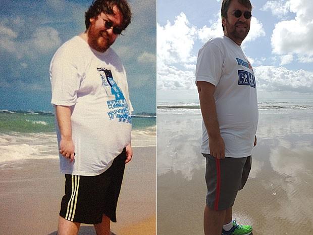 Quando começou as caminhadas, Marcus Andrey pesava 140 quilos; após os primeiros quatro dias de atividade física, já tinha parado de roncar (Foto: Acervo pessoal (E) e Vitor Tavares/ G1 (D))