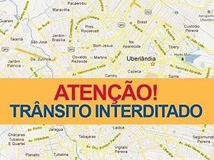 Ruas são interditas para manutenção na rede elétrica em Uberlândia, MG (Foto: Secom/Divulgação)