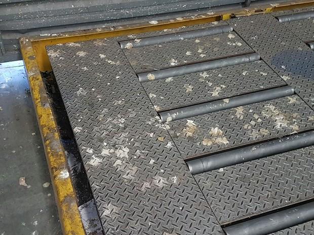 Fezes de pombos no setor de cargas de encomendas (Foto: Divulgação/ Sintec-MT)