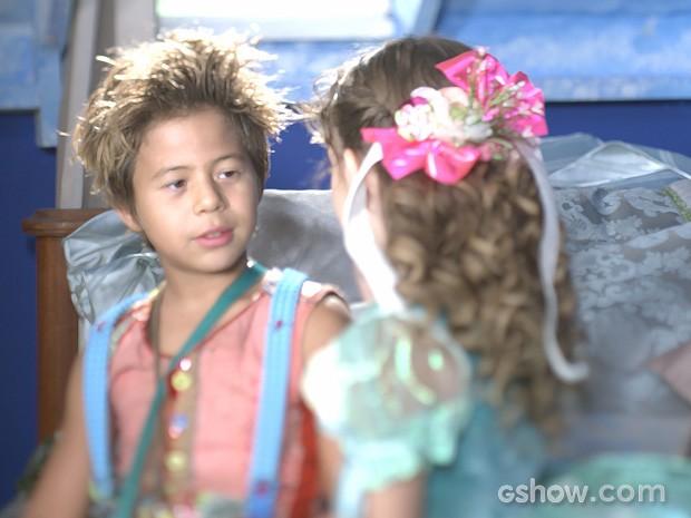 Tomás Sampaio e Geytsa Garcia como Serelepe e Pituca (Foto: Meu Pedacinho de Chão/TV Globo)