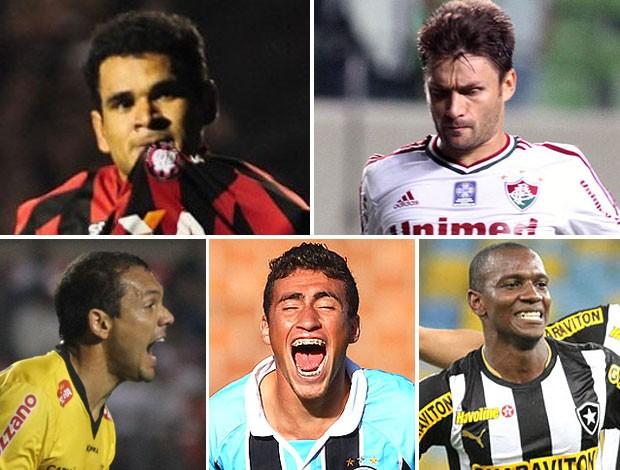 montagem Éderson - Atlético-PR Rafael Sóbis - Fluminense Lins - Criciúma Paulinho - Grêmio Hyuri - Botafogo (Foto: Editoria de Arte)