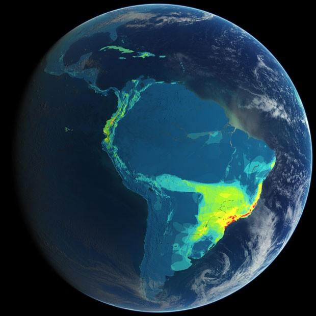 Mapa mostra distribuição de espécies de aves ameaçadas de extinção nas Américas, com grandes concentração nas florestas costeiras do Brasil e no Norte dos Andes (Foto: Divulgação/Clinton Jenkins/Science)