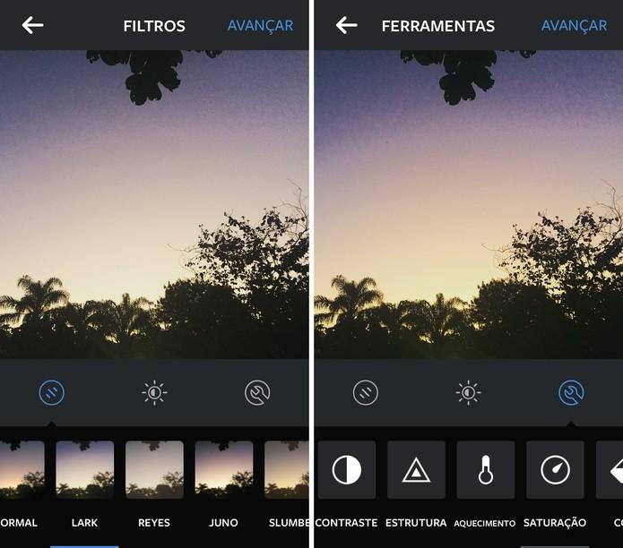 O próprio aplicativo do Instagram conta com várias ferramentas de edição (Foto: Reprodução/Juliana Pixinine)