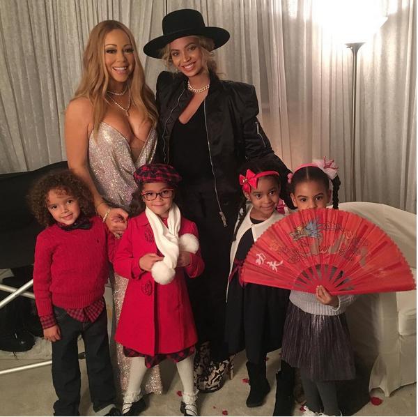 As cantoras Mariah Carey e Beyoncé com os filhos (Foto: Instagram)