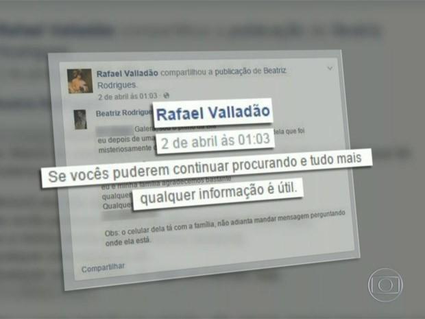 Suspeito chegou a compartilhar mensagem sobre sumiço de Beatriz (Foto: Reprodução/TV Globo)