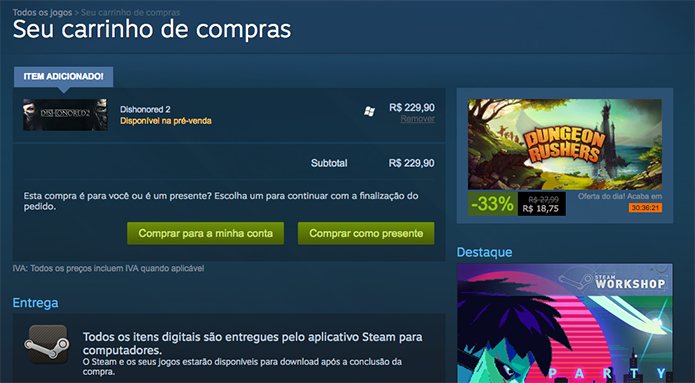 Faça o pagamento do Dishonored 2 no Steam (Foto: Reprodução/Murilo Molina)