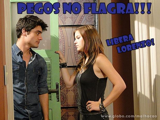 Putz! A Lia e o Vitinho foram pegos na maior pegação pelo pai! Que vergonhaaaa (Foto: Malhação / Tv Globo)