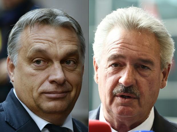 À esq., o primeiro-ministro húngaro Viktor Orban e à dir., o ministro de Luxemburgo Jean Asselborn; Asselborn criticou as políticas anti-imigrantes da Hungria (Foto: John Thys Thierry Charlier / AFP)