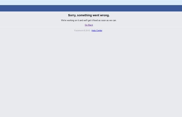 Facebook sai do ar e usuários não conseguem acessar a rede social. (Foto: Reprodução/Facebook)