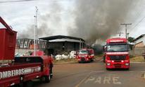 Galpão de reciclagem pega fogo em Aparecida de Goiânia (Divulgação/Bombeiros)