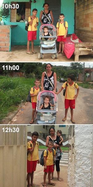 A rotina de Rosângela e os filhos: saída de casa (10h30), caminhada pelas ruas de Aparecida de Goiânia (11h00) e a chegada à escola (12h30) (Foto: Elisângela Nascimento/G1)