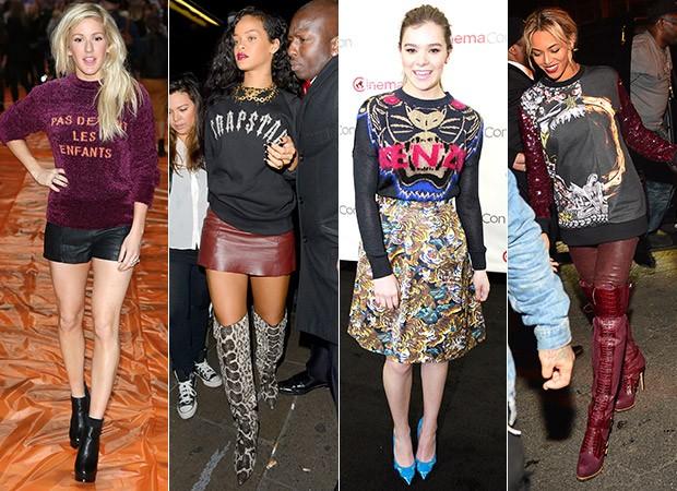 [MODA] Moletom de luxo - Ellie Goulding, Rihanna, Hailee Steinfeld e Beyoncé (Foto: Agência Getty Images)