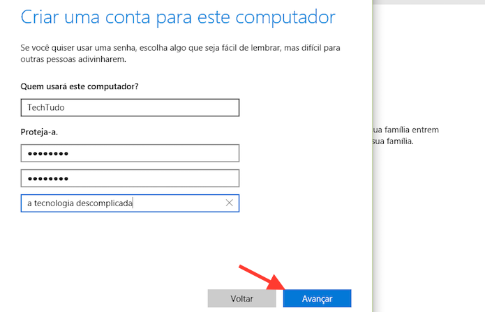 Adicionando um nome de usuário e senha de acesso no Windows 10 (Foto: Reprodução/Marvin Costa)