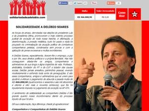 Página inicial do site criado para arrecadar doações para pagar a multa do mensalão de Delúbio Soares (Foto: Reprodução/solidariedadeadelubio.com)