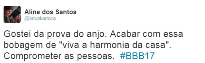 Internauta comenta Prova do Anjo Triturador BBB (Foto: Reprodução da Internet / Twitter @kricakarioca)