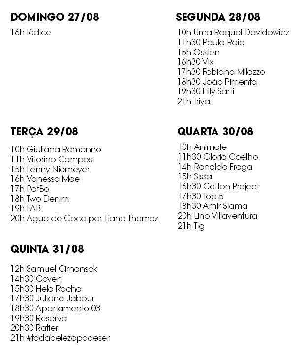 Line up SPFW N44 (Foto: Divulgação)