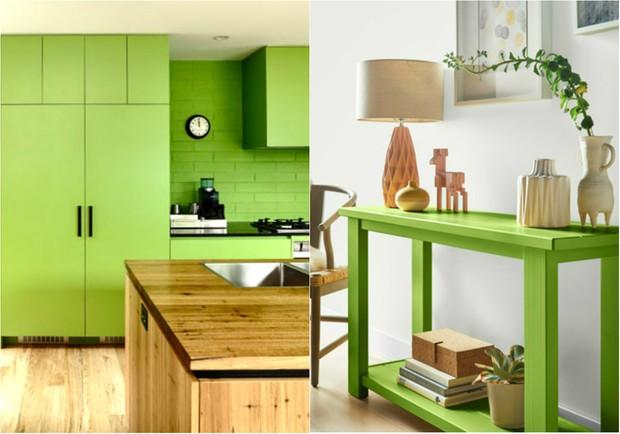 Verde Greenery, tom da Pantone para 2017, invade a decoração (Foto: Reprodução / Derek Swalwell / Pinterest | Reprodução / Behr / Pinterest)