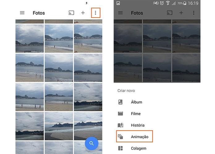 Acesse o menu do Google Fotos e selecione o item de Animação (Foto: Reprodução/Barbara Mannara)