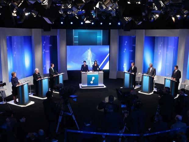 Debate entre os candidatos à Prefeitura de São Paulo nesta sexta-feira (2) nos estúdios da Rede TV! (Foto: Alex Silva/Estadão Conteúdo)
