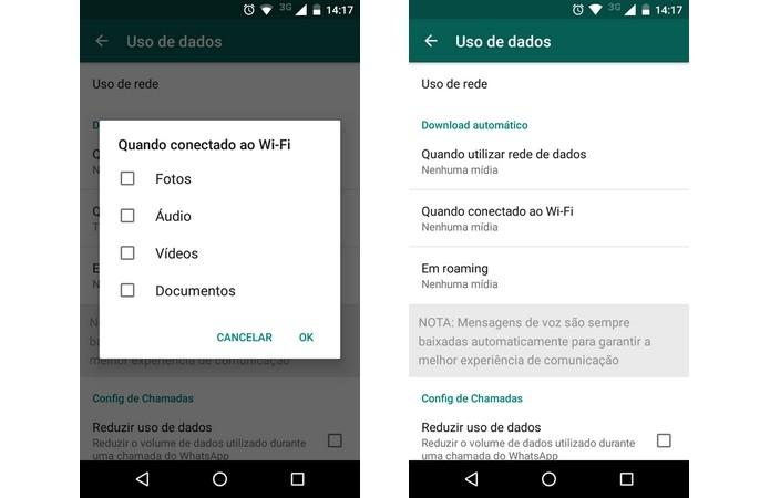 Desativação do download automático de mídia no WhatsApp (Foto: Reprodução/Raquel Freire)