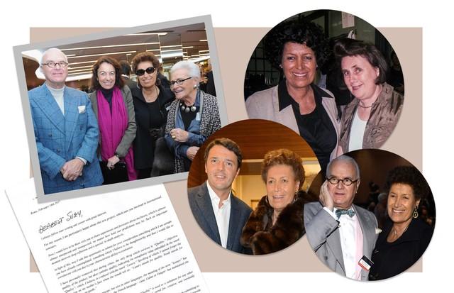 Carla Fendi ao lado de amigos e a carta que escreveu para Suzy Menkes (Foto: Reprodução / Fendi / Getty e @suzymenkesvogue)