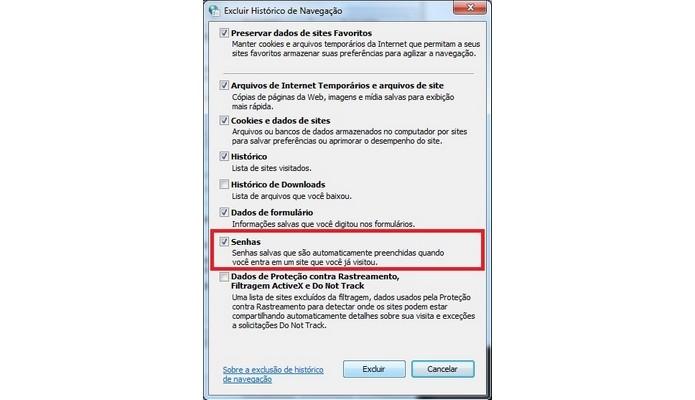 Destaque para opção de excluir senhas salvas no Internet Explorer (Foto: Reprodução/Raquel Freire)
