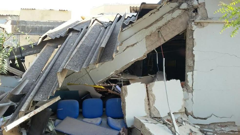 Agência do Banco do Brasil de Moreilândia após a explosão (Foto: Leonilson Batista)