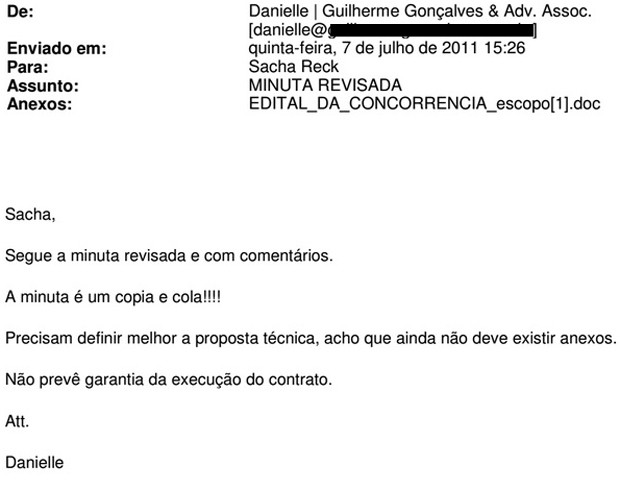 Trecho de e-mail de Danielle Cintra para Sacha Reck sobre edital de Florianópolis (Foto: Reprodução)
