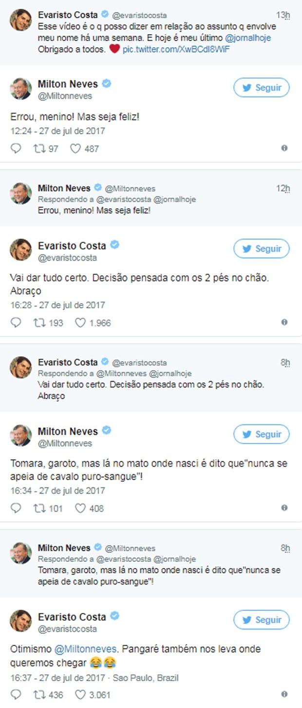 Evaristo Costa responde a críticas de Milton Neves sobre saída do Jornal Hoje (Foto: Reprodução/Twitter)