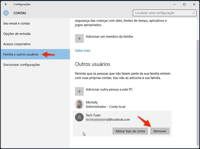 Caminho para apagar conta no Windows 10. Foto: Reprodução/Alessandro Junior)
