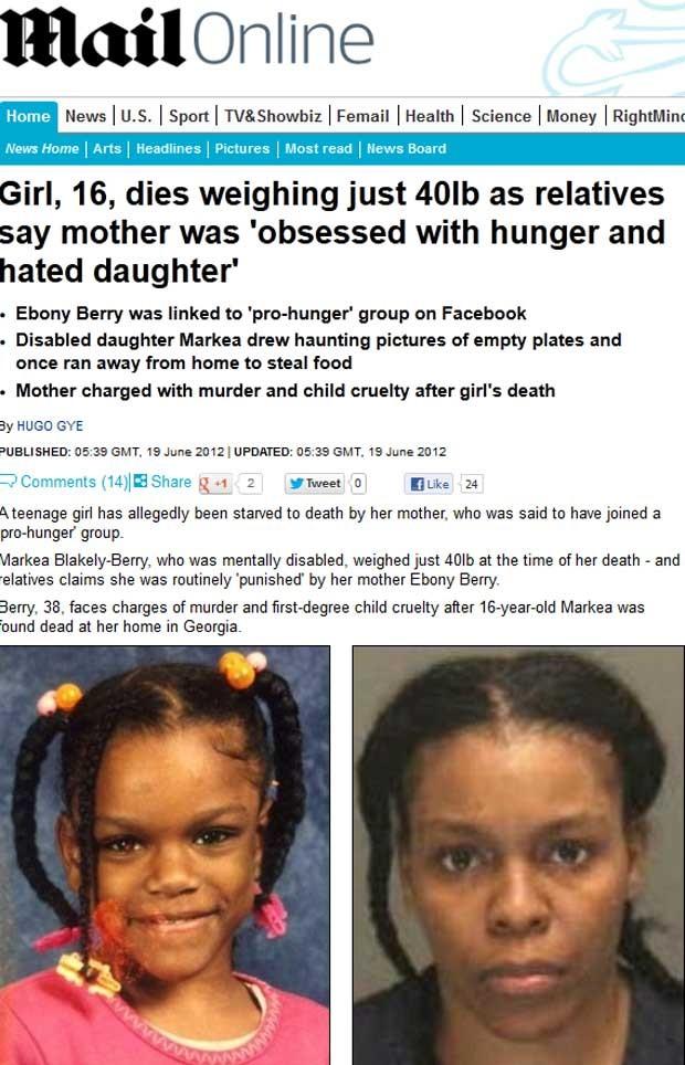 Fotos mostram Markea Blakely-Berry (esq.), que morreu de fome nesta sexta (15) aos 16 anos, e sua mãe, Ebony Berry, 38, suspeita de deixá-la passar fome (Foto: Reprodução)