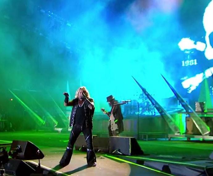 Banda Mötley Crüe no Palco Mundo (Foto: Gshow)