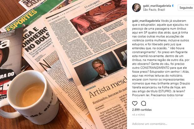 Marília Gabriela faz post após novo abuso sexual de Diego Novais (Foto: Reprodução/Instagram)