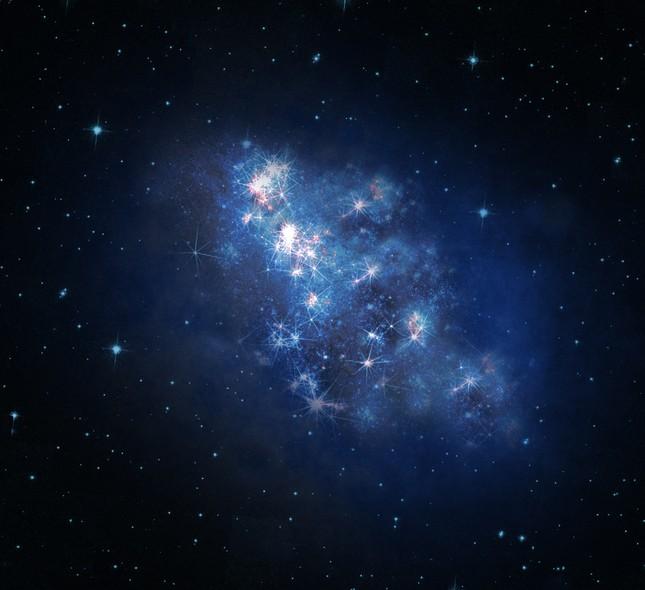 Ilustração mostra a galáxia recém-descoberta, z8_GND_5296