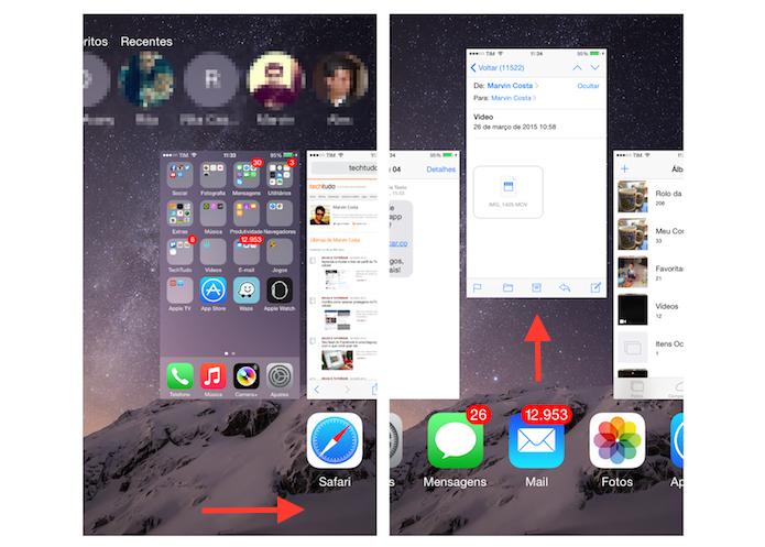 Fechando aplicativos abertos em segundo plano no iPhone (Foto: Reprodução/Marvin Costa)