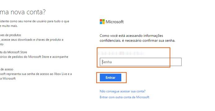 Acesse com suas credenciais da conta Microsoft (Foto: Reprodução/Barbara Mannara)