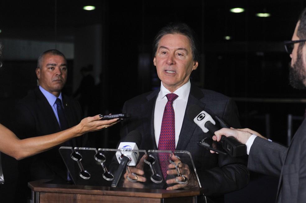 Eunício em entrevista no Senado nesta quarta-feira (26) (Foto: Marcos Brandão/Senado)