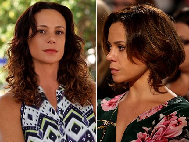 À esquerda, Vanessa com o cabelo mais longo e ondulado, na novela Em Família. À direita, a atriz com o novo corte: curto, liso e loiro (Foto: Isabella Pinheiro/Gshow)