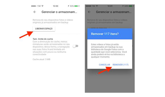 Iniciando o processo para deletar fotos do iPhone sincronizadas com o Google Fotos (Foto: Reprodução/Marvin Costa)